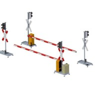 Flex railroad crossing barriers